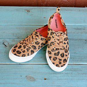 Old Navy Girls Leopard Print Slip-On Sneakers Sz 3